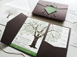 Sample Oak Tree Wedding Invitation Rustic Pocketfold Invitations Summer Printable