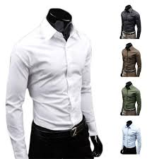 s5q men luxury casual slim fit stylish long sleeve dress shirts 4