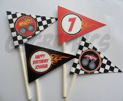 Printable Custom Flag Cupcake Toppers- Monster Truck. $7.00, Via ... Personalised Monster Truck Edible Icing Birthday Party Cake Topper Buy 24 Truck Tractor Cupcake Toppers Red Fox Tail Tm Online At Low Monster Trucks Cookie Cnection Grave Digger Free Printable Sugpartiesla Blaze Cake Dzee Designs Jam Crissas Corner Cake Topper Birthday Edible Printed 4x4 Set Of By Lilbugspartyplace 12 Personalized Grace Giggles And Glue Image This Started