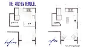 The Kitchen Floor Plans Before & After Bird s Eye Sketch} The