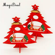 2pcs European Style Wooden Christmas Tree Ornament Stand Table Decoration Home