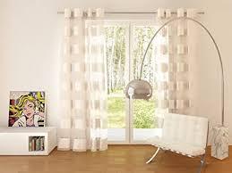 decoking 140x245 cm creme ecru vorhang fensterdekoration gardine ösenschal streifen elfenbein ivory