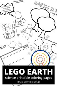 LEGO Earth Science Coloring And Day Sheets Free Printable Pages