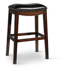 Wave Top Grain Black Leather Stool