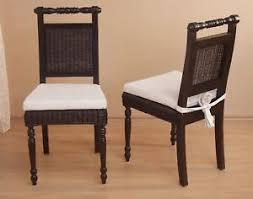 details zu 2 rattanstühle sitzkissen esszimmerstuhl küchen stuhl stühle braun massiv