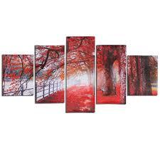 5 Cascade Automne Rouge Arbre Abstraite Toile Mur Peinture Tableau