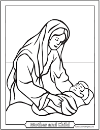 Beautiful Looking Mary Mother Of Jesus Coloring Pages 12 Mothers Day Honor And The Holy Family