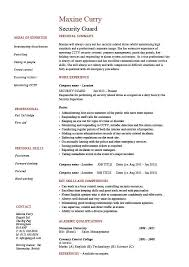 Security Guard Resume 1 Work Duties Example Sample Safety Checks First Aid Patrols Visitors