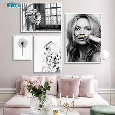 moderne wand bilder frauen engel flügel eule wand kunst leinwand poster und drucke gemälde für wohnzimmer nordic dekoration hause