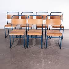 stapelbare esszimmerstühle mit blauem metallgestell remploy 1950er 24er set