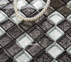 black silver color foil glass tiles square mosaic kitchen