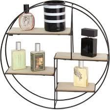 rundes wandregal im industrial design 40 cm durchmesser 4 holzböden für dekoration auch als gewürzregal setzkasten für wohnzimmer