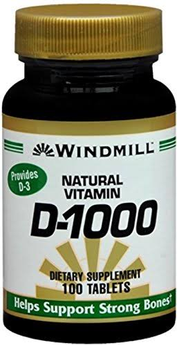 Windmill Natural Vitamin D-1000 Dietary Supplement - 100 Tablets