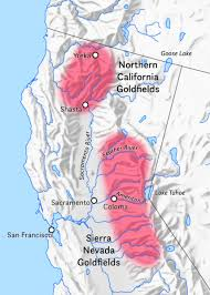 Map Of Northern California Highlighting The Regions To Which Gold Prospectors Flocked Came Sierra Nevada Mountains East And North