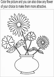 Flower Pot Easy Drawing Coloring Page Printable For Kids
