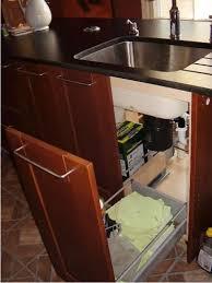 slide out drawers on base of both sides of undersink cabinet