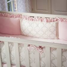 Pink and Taupe Damask Crib Bumper