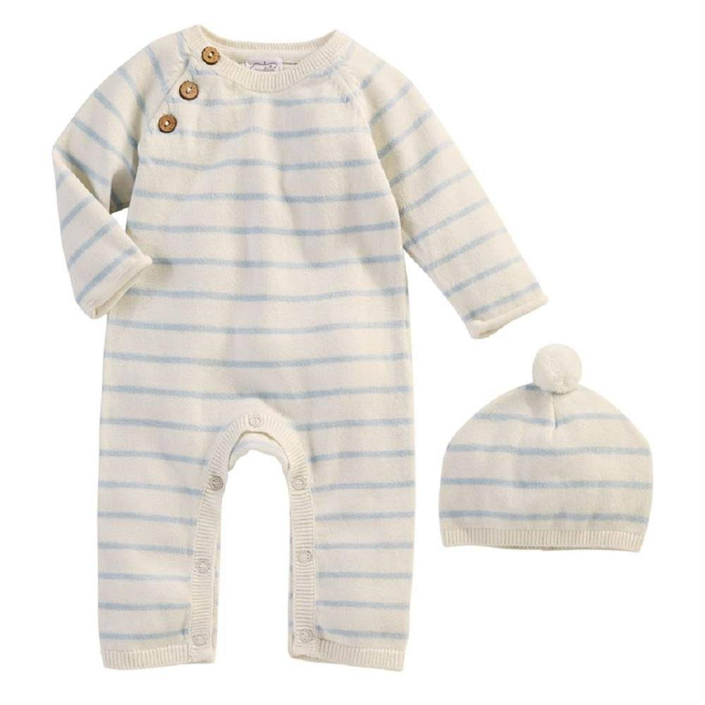 Mud Pie Stripe­ Knitted Baby Gift Set - Blue and Ivory, 2pcs
