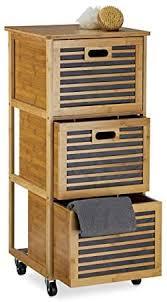relaxdays rollwagen mit schubladen aus bambus mit 3 fächern hbt 92 x 41 x 41 cm nützliches badregal mit schubkasten mit rollen als wäschebox und