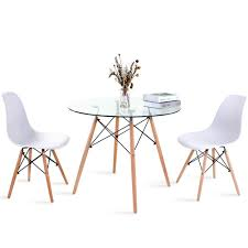 Modern Round Glass Dining Table And Chair Set Of 2, Retro Style Small Round  Table With Metal Leg, White Eiffel Dining Chair For Dining Room Kitchen ... Adorable Round Ding Table For 6 Modern Glass Kitchen Mid Design Small Set Crazy Room Oak Dinette Ideas Chairs Tables Sets Kitchen Table Set White Bench Seating Wonderful Decorating Leaf Enchanting And Argos Chair Fniture Seater Patio Marble Good Scenic Tulip Island Trends Kitchens Appealing Cool Simple Pictur Coffe Rustic Wood Contemporary Corner Room Ideas