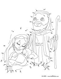 Nativity Scene Printable Coloring Pages The Kings Holy Family Connect Dots Game Christmas Story Free