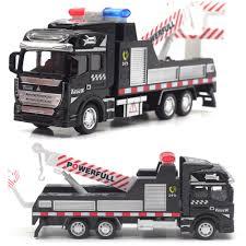 100 Police Truck Tab 148 Scale Mini Rescue Tow Trailer Pullback Car Metal