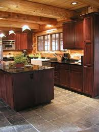 Log Cabin Kitchen Cabinets Luxury Slate Flooring
