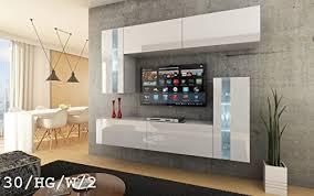 future 30 wohnwand anbauwand wand schrank möbel wohnzimmerschrank wohnzimmer tv schrank hochglanz weiß schwarz led rgb beleuchtung 30 hg w 2 led