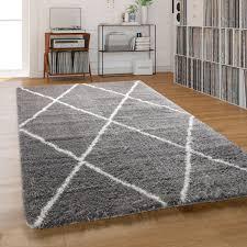 teppich wohnzimmer shaggy hochflor einfarbig mit weißem rauten muster grau