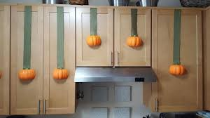 Halloween Decorations Kitchen Cabinets Pumpkin Wreath Ribbons 5