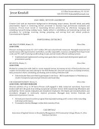 Lead Cook Resume Sample Template