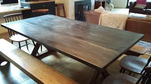 Dining Tables Amusing Brown Rectangle Rustic Wooden Zinc Table Stained Design Top