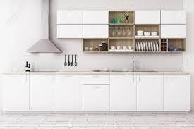 Modern White Kitchen Interior 3d Rendering Stockfoto Und Front View Of Modern White Kitchen Interior With Wooden Floor