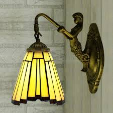 style wall sconce light stained glass l shade mermaid