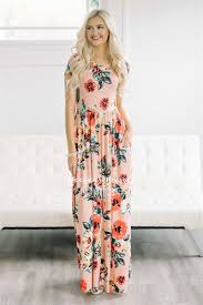 pretty peach spring floral maxi modest dress best and affordable