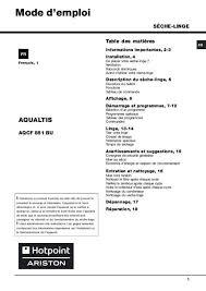 notice seche linge hotpoint ariston mode d emploi sèche linge hotpoint ariston aqcf 851 bu trouver une