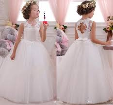 vintage lace appliqued tulle flower girls dresses ball gowns open