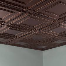 ceiling tile 2x2 suspended coffer in rubbed bronze