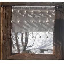 rideau brise bise coton blanc droit 3 rangées de pompons