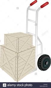 Hand Truck Or Dolly Loading Two Wooden Crate Or Cargo Box Isolated ...