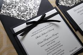 Square Damask Wedding Invitations Red and Black Vintage or
