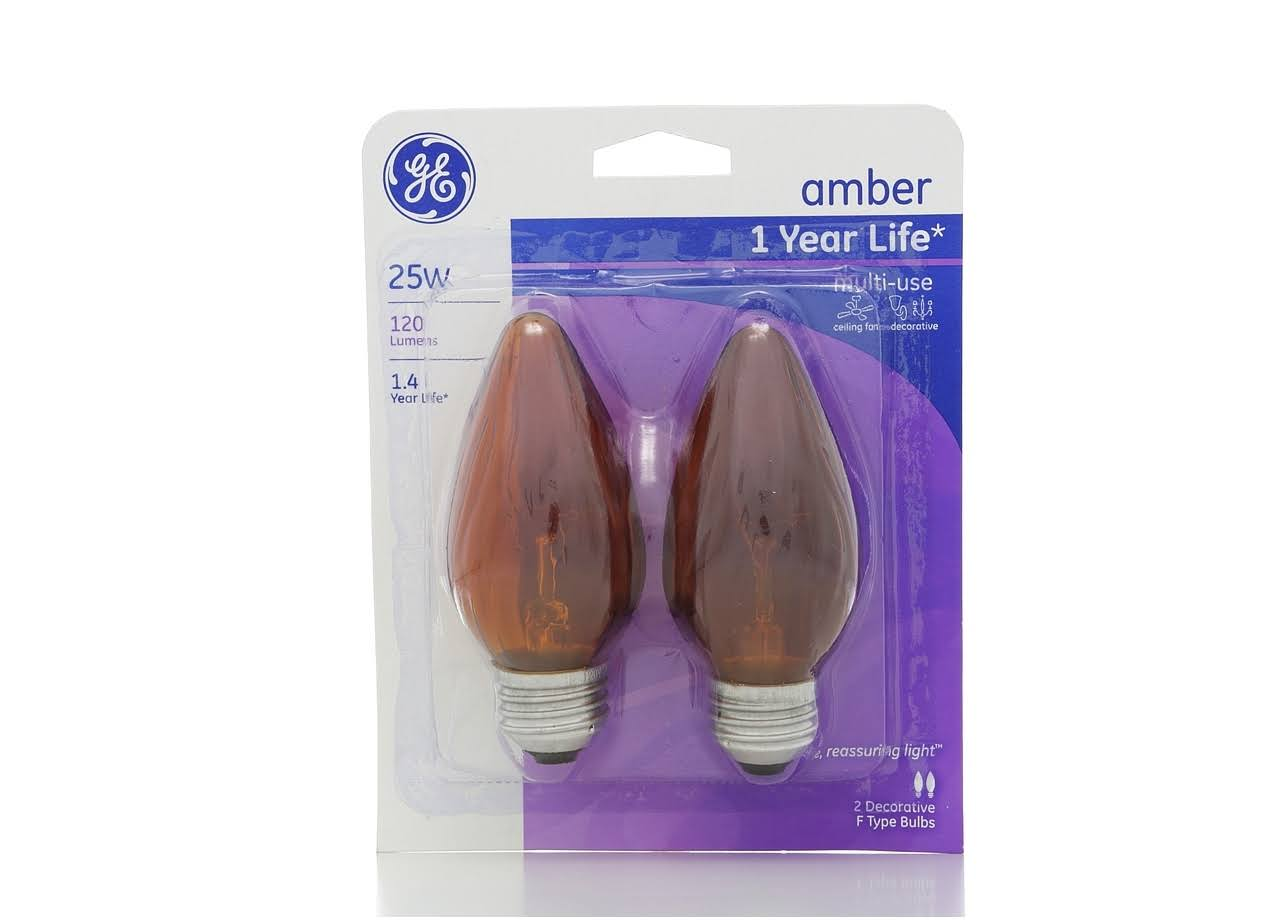 GE Lighting Multi-Use Light Bulb - Amber, Flame Shaped, 2x25W