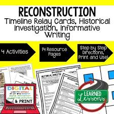 Reconstruction Timeline Relay And Writing Activity Paper Google
