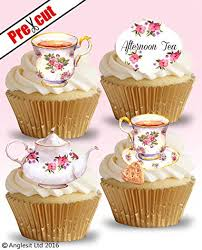 PRE CUT TEA TIME VINTAGE PARTY EDIBLE RICE WAFER PAPER CUPCAKE CAKE TOPPERS BIRTHDAY DECORATIONS Amazoncouk Kitchen Home