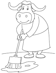 Bull Mopping Coloring Page