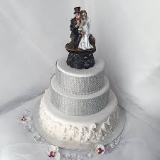 Halloween Bride and Groom wedding cake topper Skeleton bride and