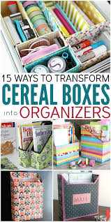15 ways to make cereal box organizers upcycle box and organizing