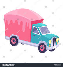 Funny Truck Pink Pink Glazed Container Stock Vector 1043993878 ...