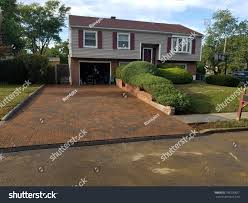 100 Bilevel Home Newly Installed Driveway Pavers Stock Photo