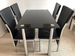 SOLD Black Dining Table With 4 Chairs